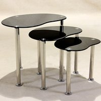 Product photograph showing Logan Black Glass Nest Of Tables With Stainless Steel Legs
