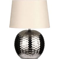 Product photograph showing Loketa Beige Fabric Shade Table Lamp With Chrome Base