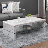 Momo High Gloss Coffee Table In Vida Marble Effect With Glass Undershelf
