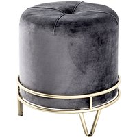 Product photograph showing Loleta Fabric Stool In Anthracite With Gold Metal Base