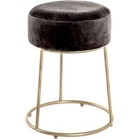 Product photograph showing Loleta Tall Fabric Stool In Anthracite With Gold Metal Base