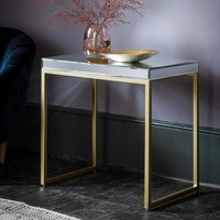 Product photograph showing Lombok Mirrored Side Table With Champagne Metal Frame