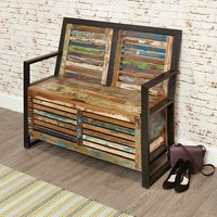 image-London Urban Chic Wooden Shoe Storage Bench With Steel Frame