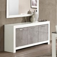 Lorenz Sideboard In Marble Effect White High Gloss With 3 Doors
