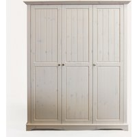 Product photograph showing Lotta Wooden Wardrobe In White Wash With 3 Doors