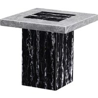 Product photograph showing Lotus Marble Lamp Table In Black And Natural Stone