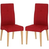 Product photograph showing Lucas Red Fabric Dining Chairs In A Pair