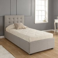 Lucca Fabric Ottoman Storage Single Size Bed In Grey