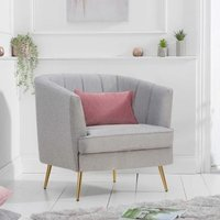 Product photograph showing Lucite Linen Fabric Upholstered Armchair In Grey