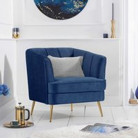 Product photograph showing Lucite Velvet Upholstered Armchair In Blue