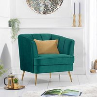 Product photograph showing Lucite Velvet Upholstered Armchair In Green