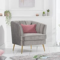 Product photograph showing Lucite Velvet Upholstered Armchair In Grey