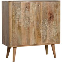 Product photograph showing Lufkin Wooden Leaf Embossed Storage Cabinet In Oak Ish