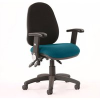 Product photograph showing Luna Iii Office Chair With Maringa Teal Seat Folding Arms