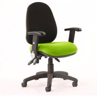Product photograph showing Luna Iii Office Chair With Myrrh Green Seat Folding Arms