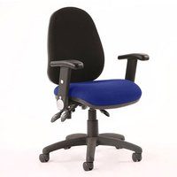 Product photograph showing Luna Iii Office Chair With Stevia Blue Seat Folding Arms