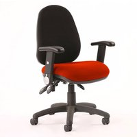 Product photograph showing Luna Iii Office Chair With Tabasco Red Seat Folding Arms