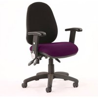 Product photograph showing Luna Iii Office Chair With Tansy Purple Seat Adjustable Arms