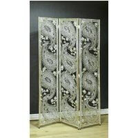 image-Silver Paisley Metal Novelty Room Divider For The Home
