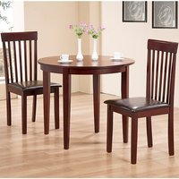Product photograph showing Lunar Wooden Dining Set In Mahogany With 2 Chairs