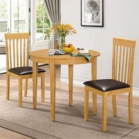 Product photograph showing Lunar Wooden Dining Set In Natural With 2 Chairs