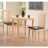 Product photograph showing Lunar Wooden Dining Set In Oak With 2 Chairs