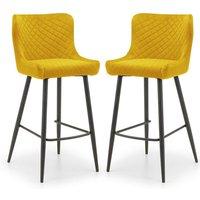 Luxe Mustard Velvet Bar Stool With Black Legs In Pair