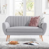 Product photograph showing Luxen Linen Fabric Upholstered 2 Seater Sofa In Grey