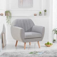 Product photograph showing Luxen Linen Fabric Upholstered Armchair In Grey