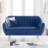 Product photograph showing Luxen Velvet Upholstered 2 Seater Sofa In Blue