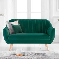 Product photograph showing Luxen Velvet Upholstered 2 Seater Sofa In Green