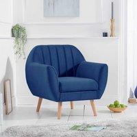 Product photograph showing Luxen Velvet Upholstered Armchair In Blue