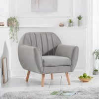 Product photograph showing Luxen Velvet Upholstered Armchair In Grey