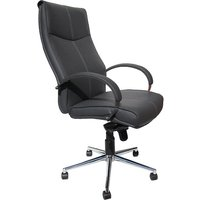 Luxury Home Office Chair In Grey Faux Leather With Castors