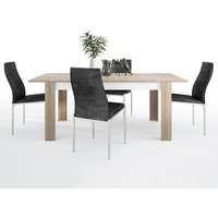 Lyco Large Wooden Extending Dining Table And 6 Mexa Black Chairs