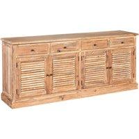 Lyox Wooden 4 Doors 4 Drawers Sideboard In Burnt Whitewash Oak