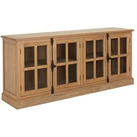 Lyox Wooden 4 Glass Doors Sideboard In Natural