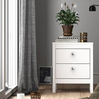 Macron Wooden Bedside Cabinet In White With 2 Drawers