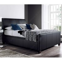 Madea Ottoman Storage Double Bed In Black Bonded Leather