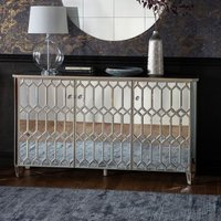 Madehurst Mirrored Sideboard In Clear With 3 Doors