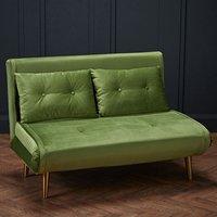 Madison Velvet Upholstered Sofa Bed In Green With Gold Legs