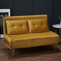 Product photograph showing Madison Velvet Upholstered Sofa Bed In Mustard With Gold Legs