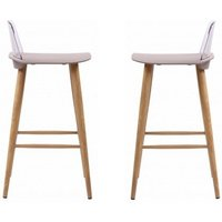 Product photograph showing Madisson Stone Bar Stool With Oak Look Metal Legs In A Pair