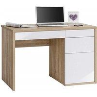 Magallon Computer Desk In Sonoma Oak And White High Gloss