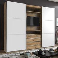 Magic Sliding Door Wide Wardrobe In Planked Oak With TV Shelf
