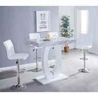 Halo Magnesia Marble Effect Bar Table 4 Ripple White Bar Stool