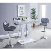 Halo Magnesia Marble Effect Bar Table 4 Candid Grey Bar Stool