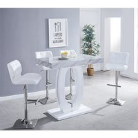 Halo Magnesia Marble Effect Bar Table 4 Candid White Bar Stool