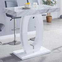 Product photograph showing Magnesia High Gloss Marble Effect Bar Table Grey And White
