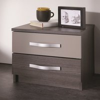 Magnum Bedside Cabinet In Vulcano Oak And Basalt With 2 Drawers